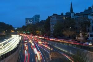 Boston traffic and light trails
